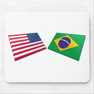 US & Brazil Flags Mouse Mat