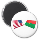 US & Burkina Faso Flags Fridge Magnet