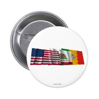 US, California and Los Angeles Flags 6 Cm Round Badge