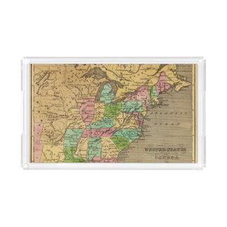 US, Canada Hand Colored Atlas Map Acrylic Tray