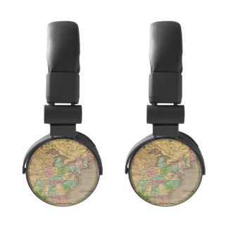 US, Canada Hand Colored Atlas Map Headphones
