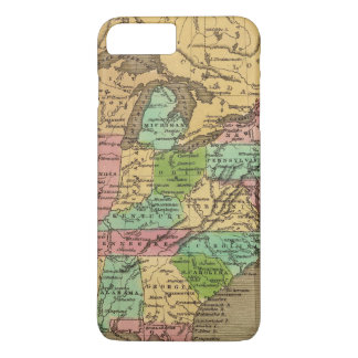 US, Canada Hand Colored Atlas Map iPhone 8 Plus/7 Plus Case