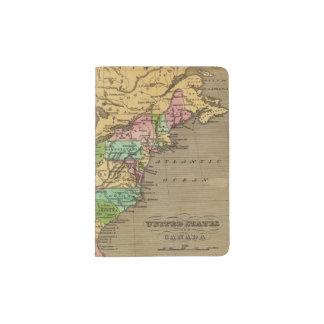 US, Canada Hand Colored Atlas Map Passport Holder