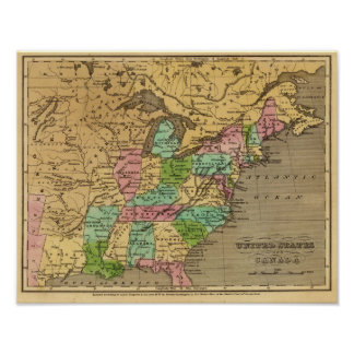 US, Canada Hand Colored Atlas Map Poster