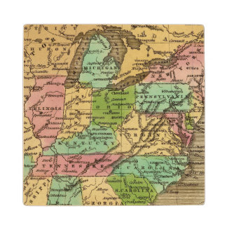 US, Canada Hand Colored Atlas Map Wood Coaster