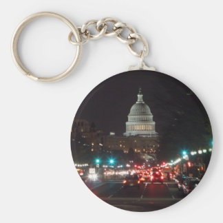 US Capitol Building at night Keychains
