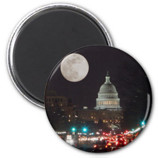 US Capitol Building at night with full moon 6 Cm Round Magnet