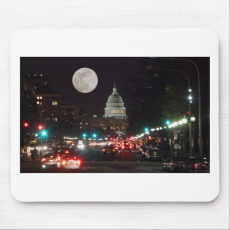 US Capitol Building at night with full moon Mouse Pad