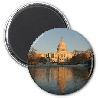 US Capitol Building Sunset 6 Cm Round Magnet