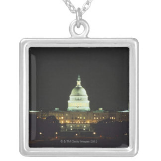 US Capitol Building, United States Congress, Silver Plated Necklace