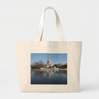US Capitol building winter  picture Large Tote Bag