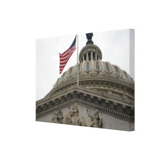 US Capitol Building with American Flag - East Canvas Print