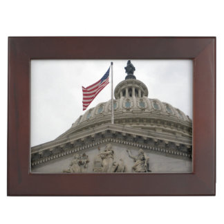 US Capitol Building with American Flag - East Keepsake Box