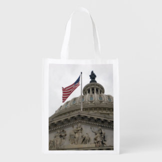 US Capitol Building with American Flag - East Reusable Grocery Bag