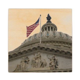 US Capitol Building with American Flag - East Wood Coaster