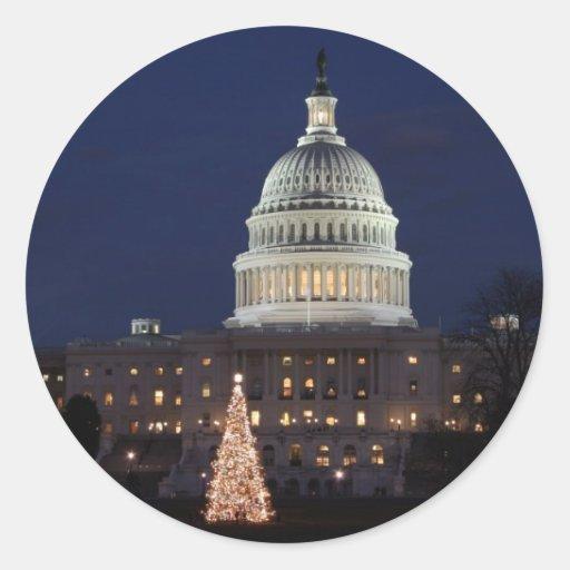 US Capitol celebrating Christmas photo Round Stickers