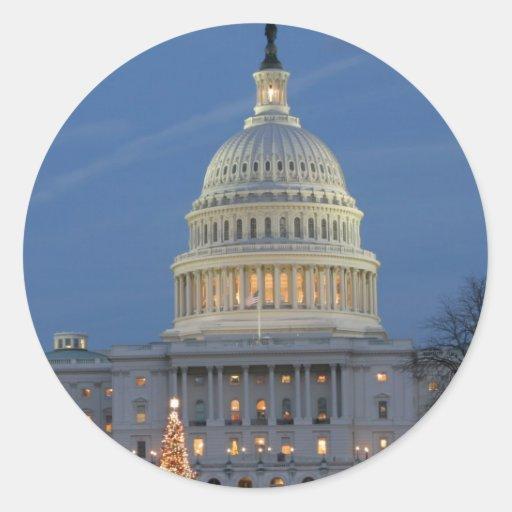 US Capitol celebrating Christmas photo Sticker