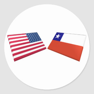 US & Chile Flags Classic Round Sticker