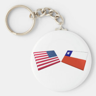 US & Chile Flags Key Chains