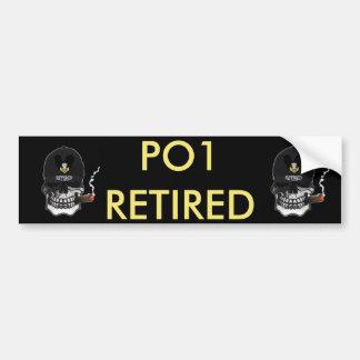 US Coast Guard PO1 Scull Cigar Bumper Sticker