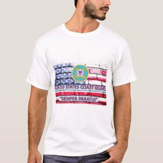 US Coast Guard Semper Paratus Motto Flag T-Shirt