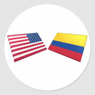 US & Colombia Flags Classic Round Sticker