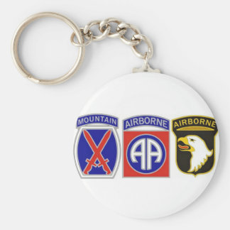 US Combat Service Identification Badges Basic Round Button Key Ring