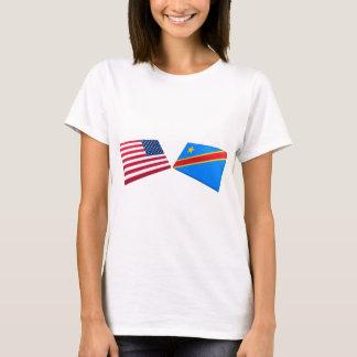 US & Congo Democratic Republic Flags T-Shirt