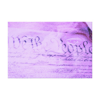 US constitution We the People and hundred dollar Gallery Wrapped Canvas