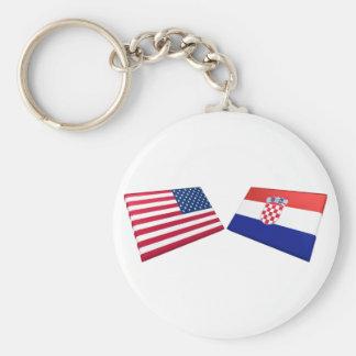 US & Croatia Flags Key Ring