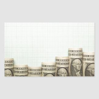 US currency uptrend graph Rectangular Sticker