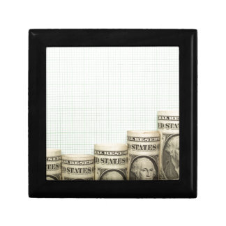 US currency uptrend graph Small Square Gift Box