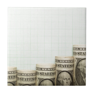 US currency uptrend graph Small Square Tile