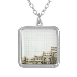 US currency uptrend graph Square Pendant Necklace