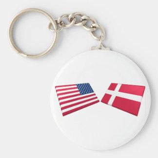US & Denmark Flags Key Ring