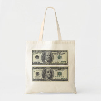 Us dollar 100 front. budget tote bag