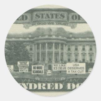 us dollar round sticker