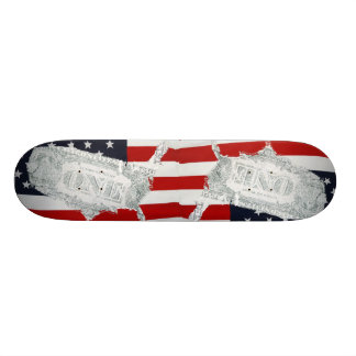 US Dollars American Money Flag Skateboard