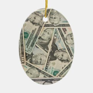 US Dollars Background Ceramic Oval Decoration