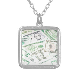 US dollars background Silver Plated Necklace