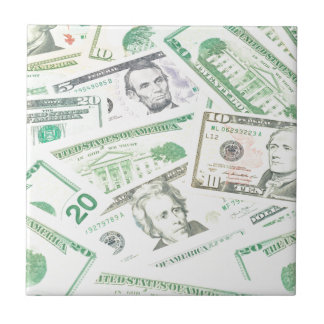 US dollars background Small Square Tile