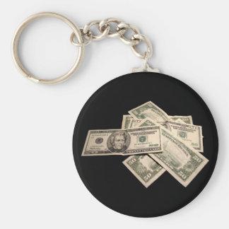US Dollars Basic Round Button Key Ring