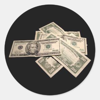 US Dollars Round Sticker