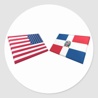 US & Dominican Republic Flags Classic Round Sticker