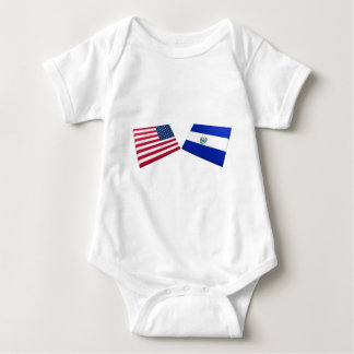 US & El Salvador Flags Baby Bodysuit