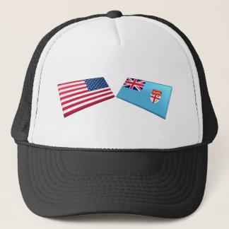 US & Fiji Flags Trucker Hat