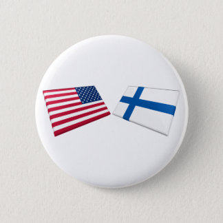 US & Finland Flags 6 Cm Round Badge