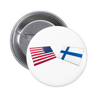 US & Finland Flags Pinback Button