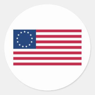 US flag 13 stars Betsy Ross Round Sticker