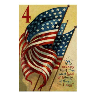 US Flag 4th of July Poster
